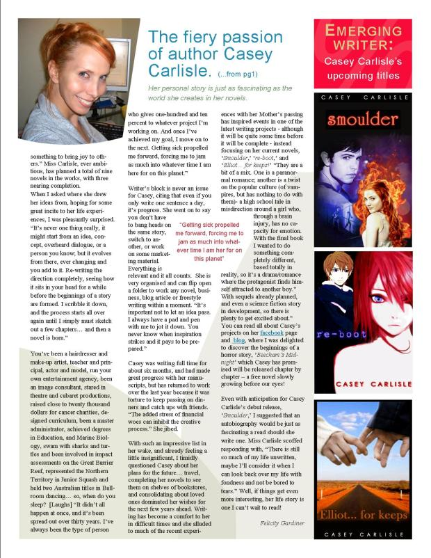 'The Fire Within' An interview with Casey Carlisle by Felicity Gardiner Page 2